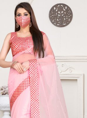 Pink Net Party Traditional Saree