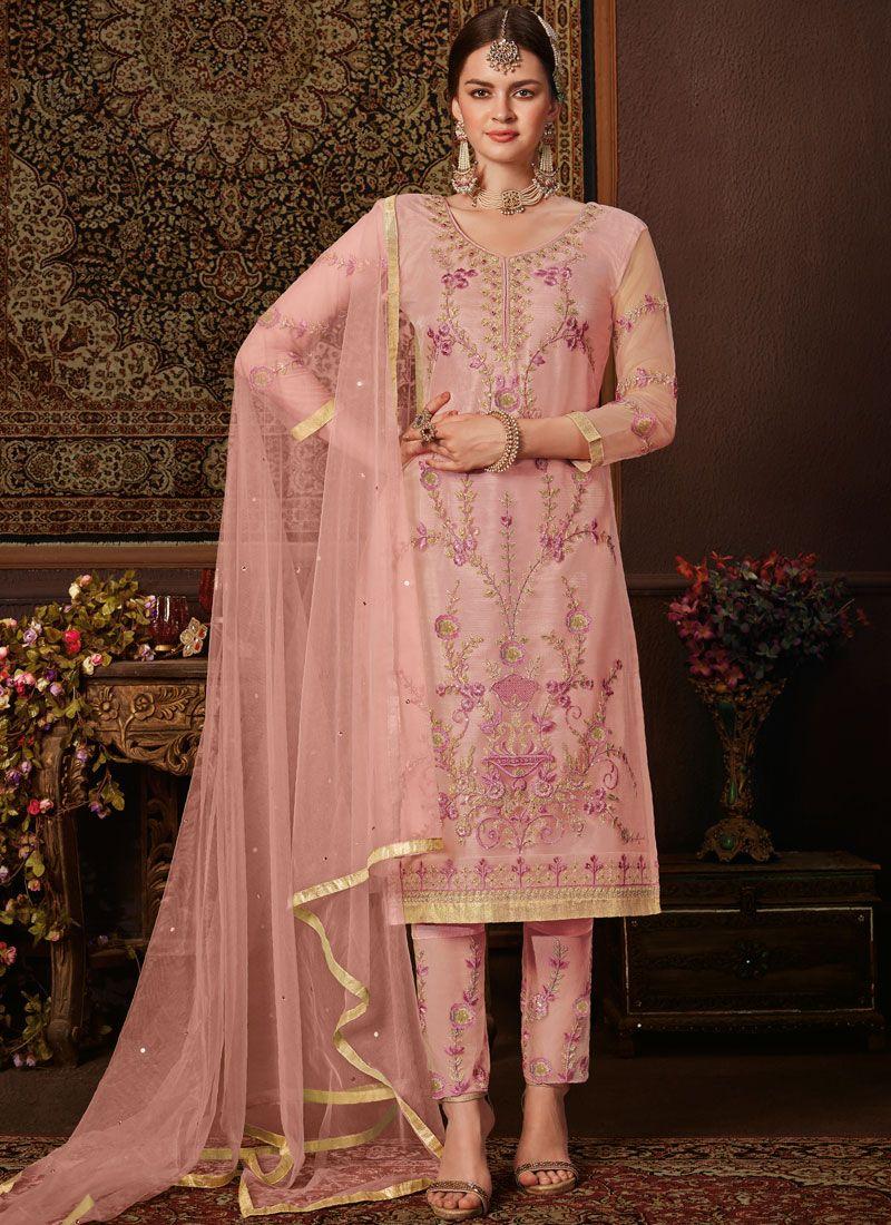 Pink Net Reception Pant Style Suit