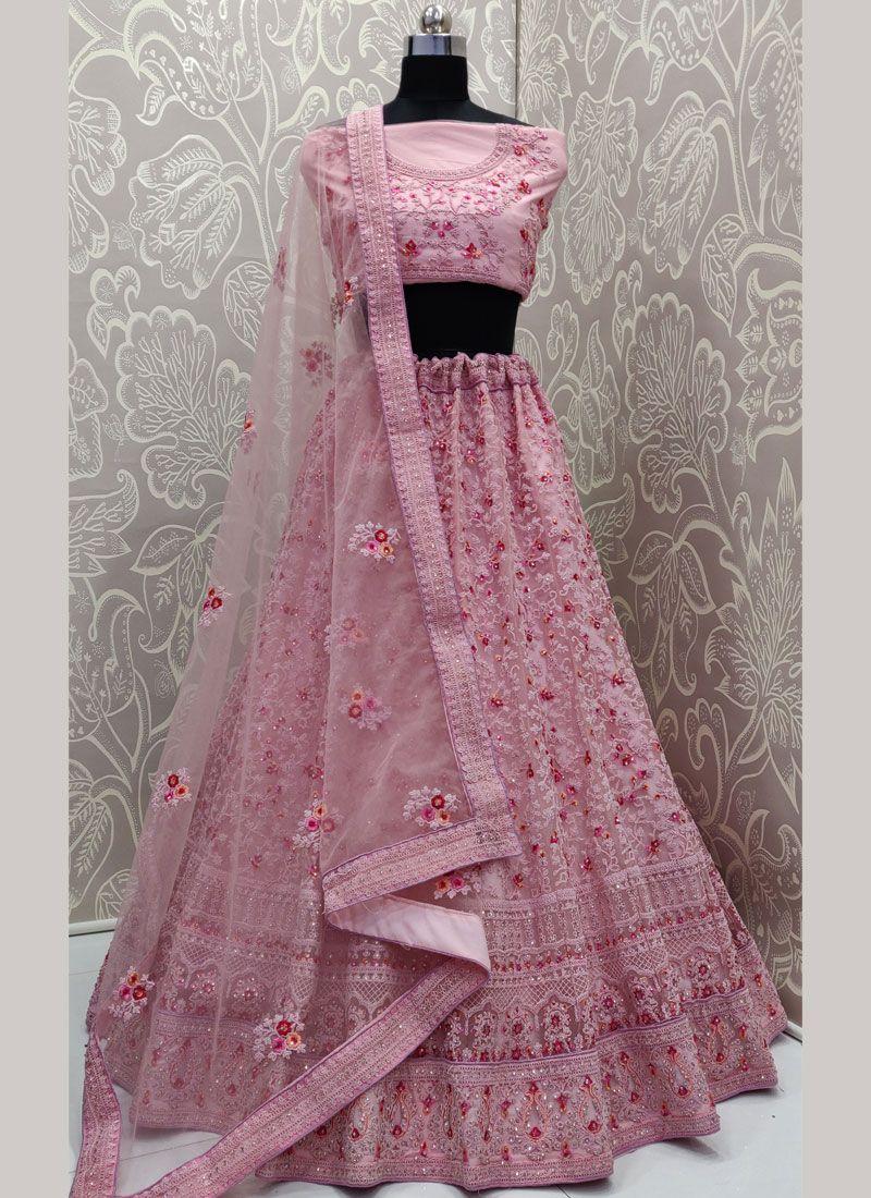 Pink Net Trendy Designer Lehenga Choli