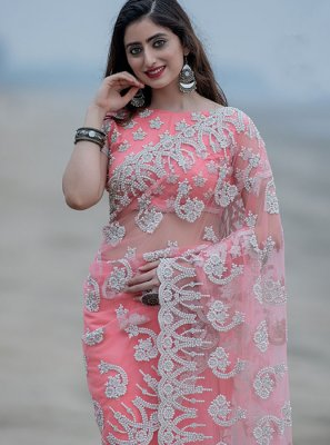 Pink Net Trendy Saree