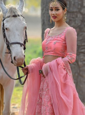 Pink Net Wedding Designer Lehenga Choli
