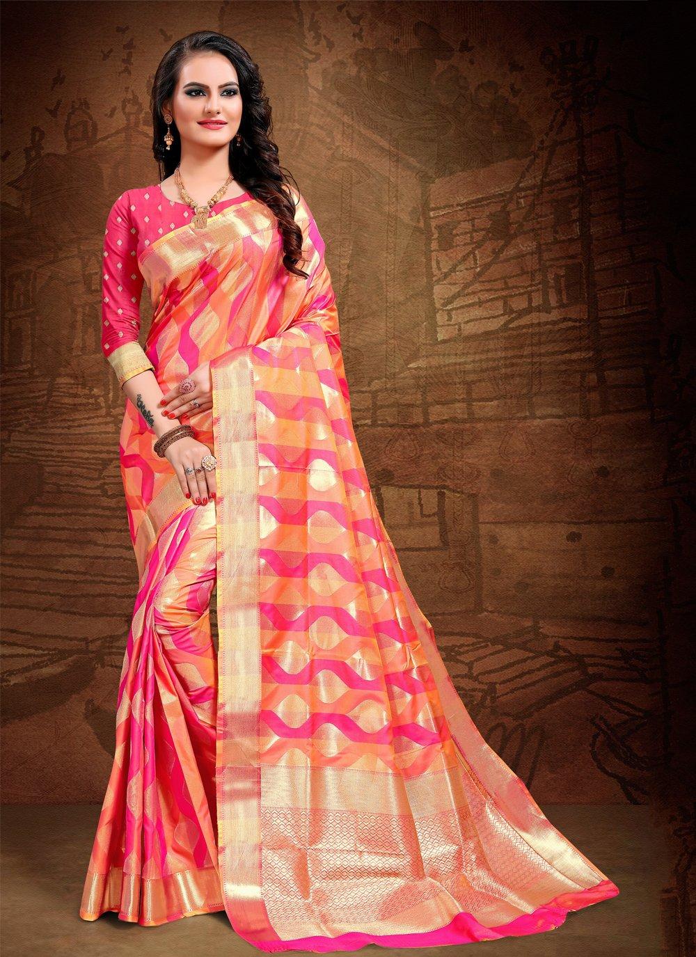 Pink Party Art Silk Classic Saree