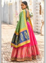 Pink Party Banarasi Silk Designer Lehenga Choli