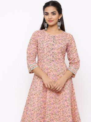 Pink Party Cotton Casual Kurti