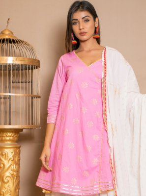 Pink Party Cotton Designer Palazzo Salwar Suit