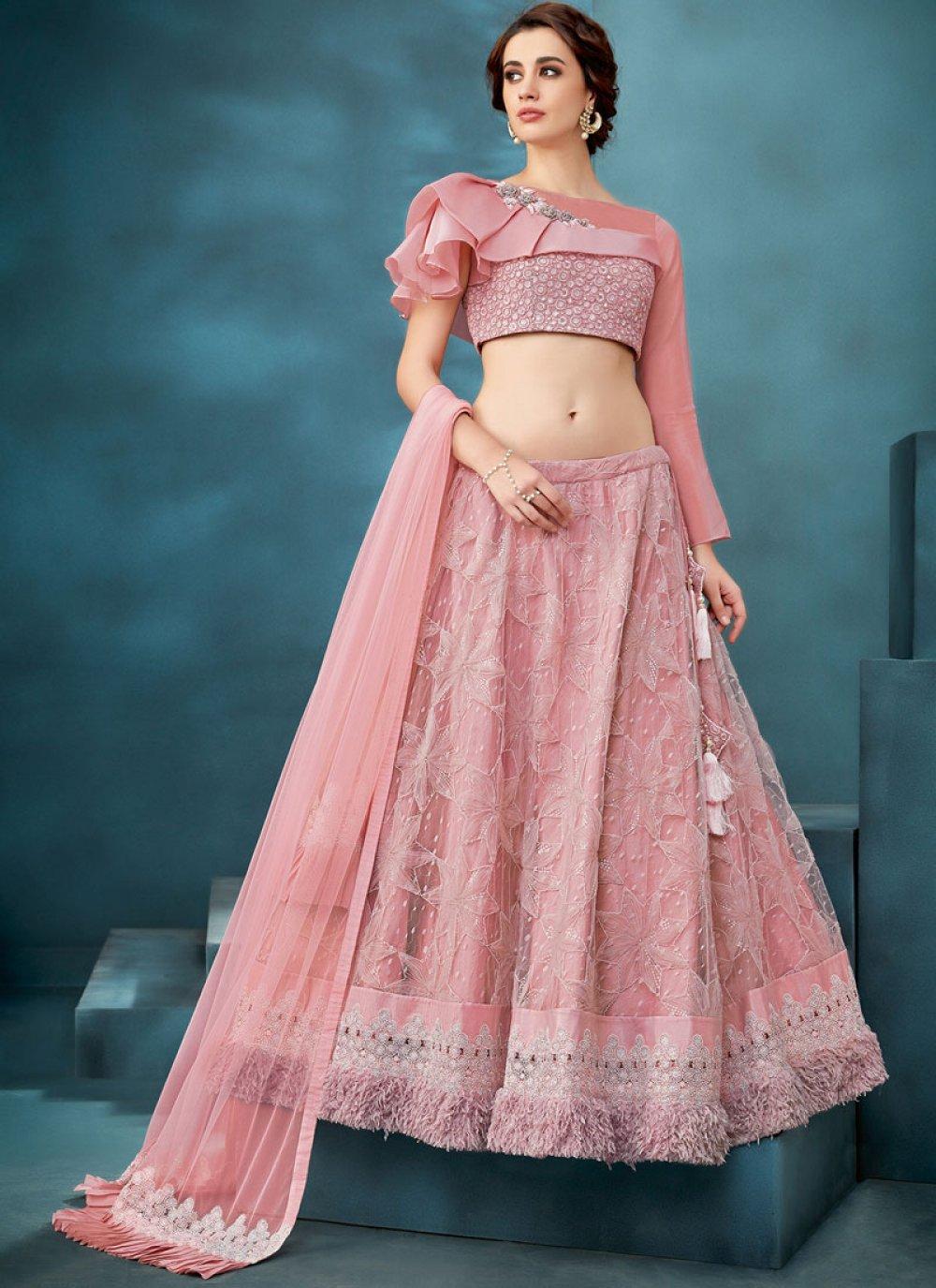 Pink Party Net Trendy A Line Lehenga Choli