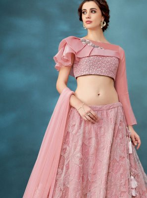 Pink Party Net Trendy A Line Lehenga Choli