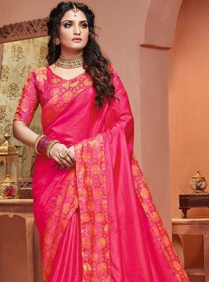 Pink Party Satin Silk Classic Saree