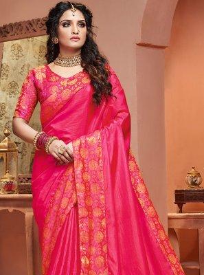 Pink Party Satin Silk Classic Saree