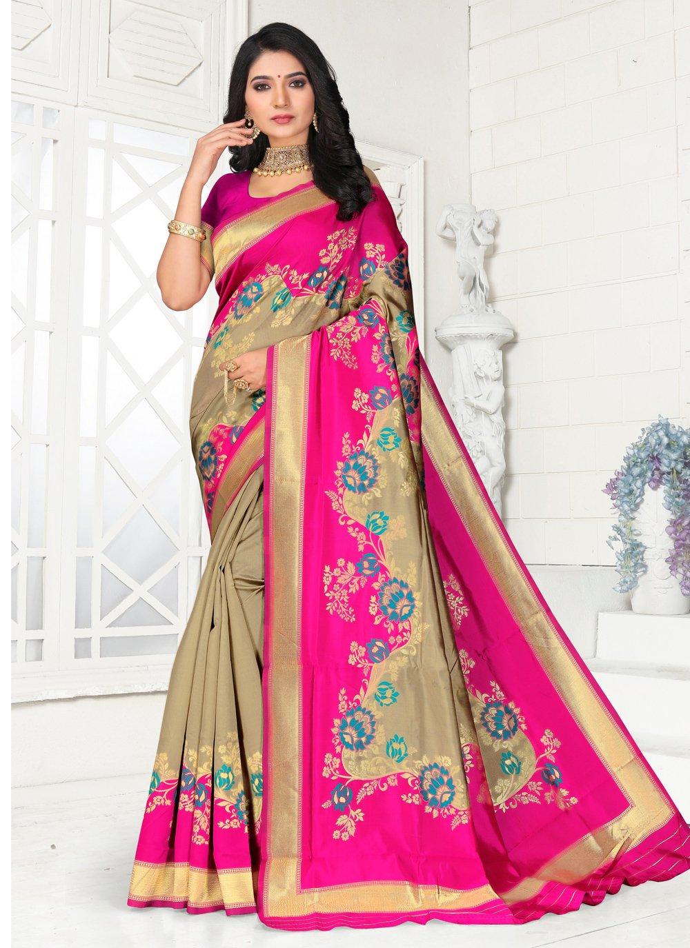Pink Party Silk Classic Saree