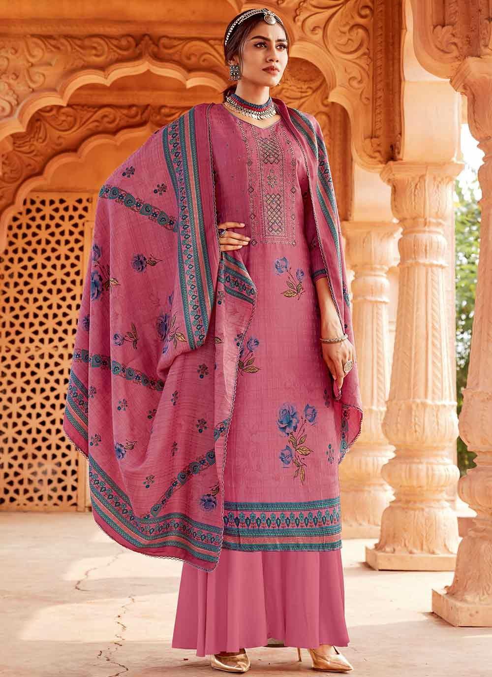 Pink Pashmina Trendy Palazzo Suit