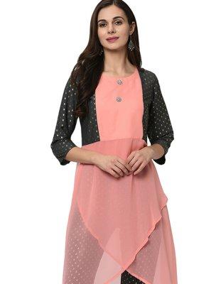 Pink Plain Georgette Casual Kurti