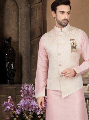 Pink Plain Kurta Payjama With Jacket