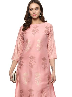 Pink Poly Silk Abstract Print Designer Kurti