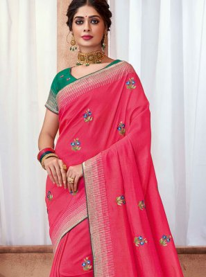 Pink Poly Silk Party Classic Saree