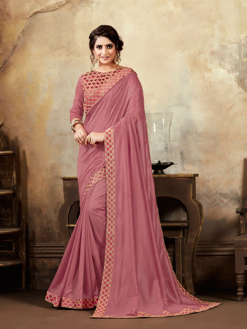 Pink Poly Silk Silk Saree