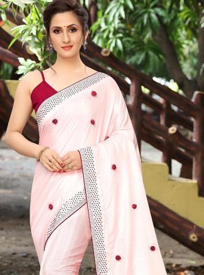 Pink Print Art Silk Printed Saree