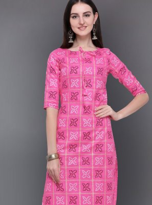 Pink Print Cotton Casual Kurti