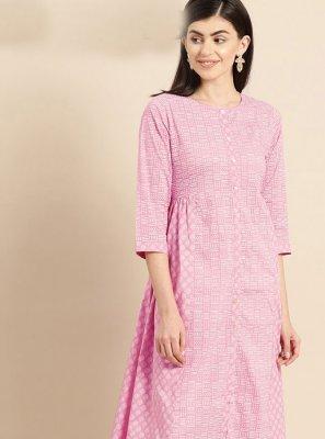 Pink Print Cotton Designer Kurti