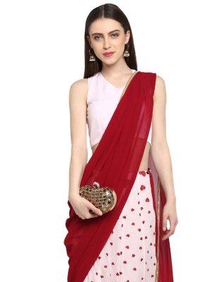 Pink Print Ready Pleated Saree