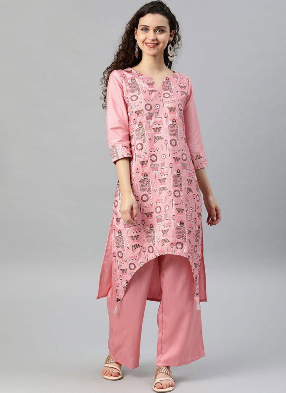 Pink Printed Casual Kurti