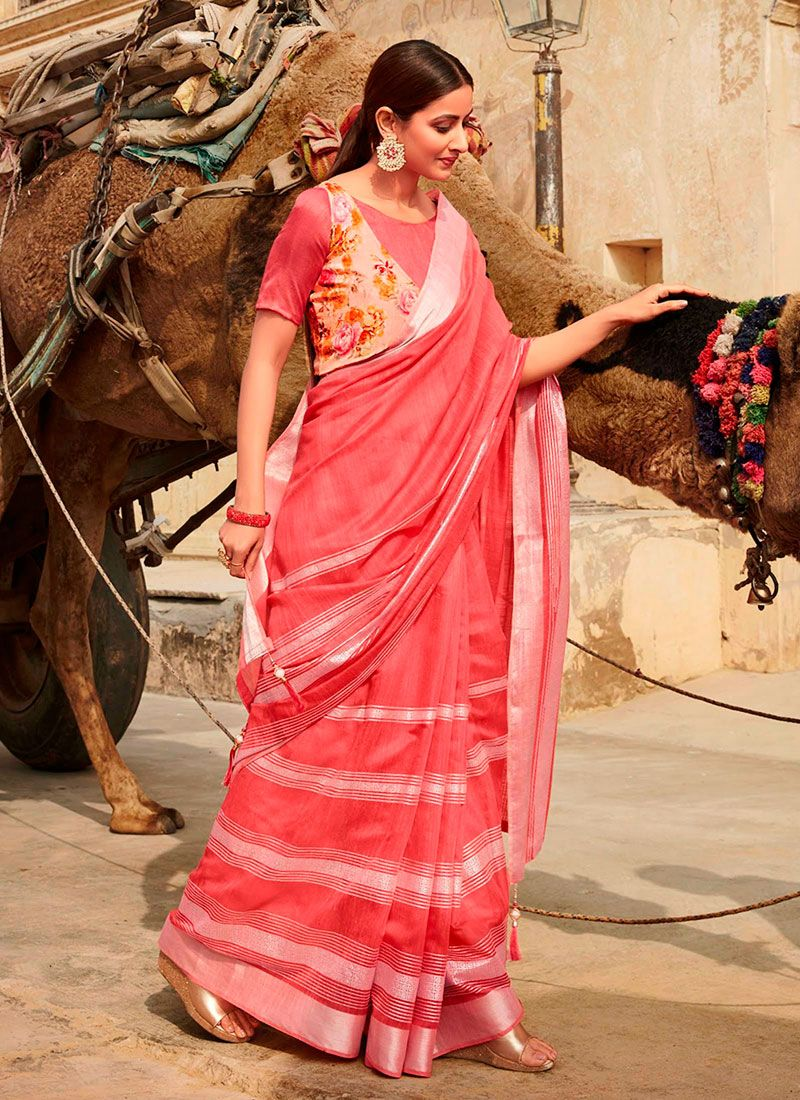 Pink Printed Casual Saree