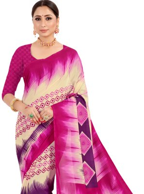 Pink Printed Contemporary Saree