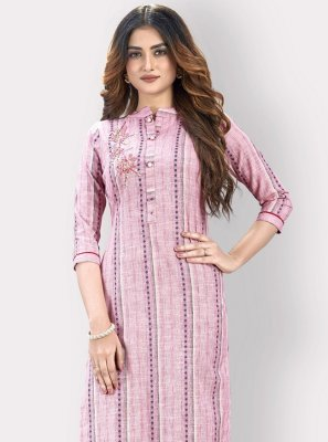 Pink Printed Cotton Casual Kurti