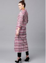 Pink Printed Cotton Party Wear Kurti