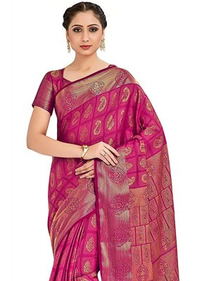 Pink Printed Designer Traditional Saree