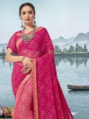 Pink Printed Georgette Designer Saree