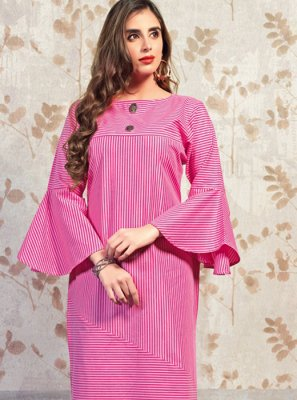 Pink Printed Party Wear Kurti