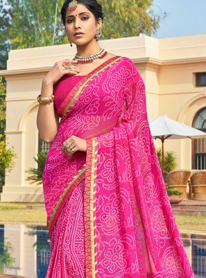 Pink Printed Printed Saree