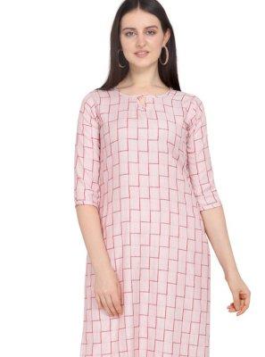 Pink Printed Rayon Designer Kurti