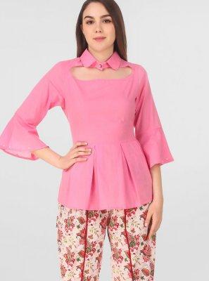 Pink Printed Rayon Salwar Suit