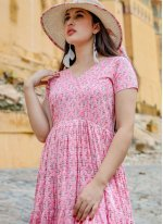 Pink Printed Readymade Gown