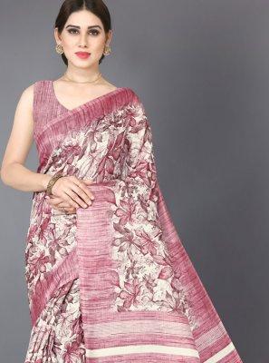 Pink Printed Silk Printed Saree