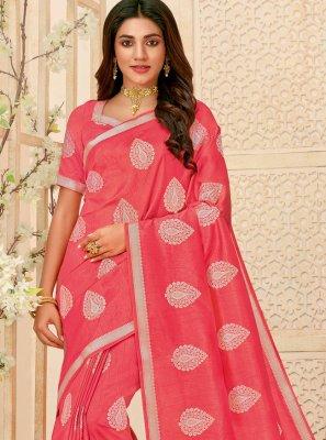 Pink Raw Silk Party Contemporary Saree