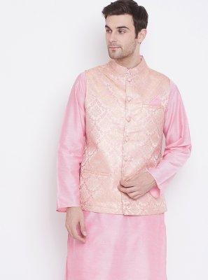 Pink Reception Art Silk Kurta Payjama With Jacket