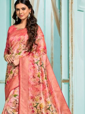 Pink Reception Jacquard Silk Designer Saree