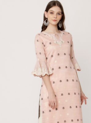 Pink Reception Party Wear Kurti