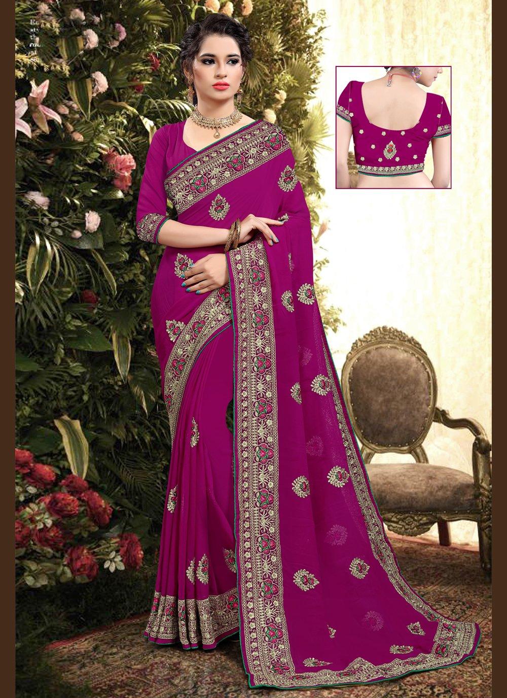 Pink Resham Georgette Designer Saree