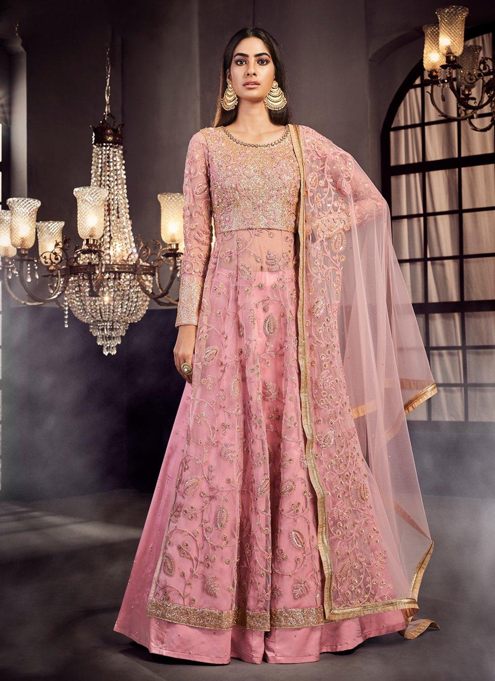 Pink Resham Net Designer Lehenga Choli
