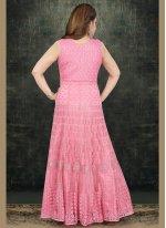 Pink Resham Net Salwar Kameez