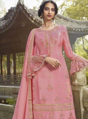 Pink Resham Party Palazzo Salwar Suit