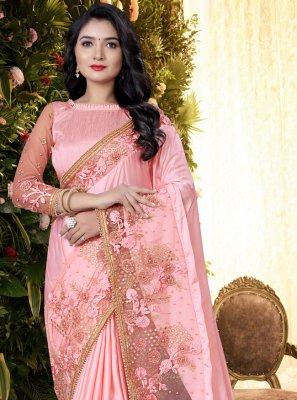 Pink Satin Embroidered Designer Saree