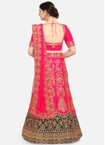 Pink Satin Embroidered Trendy Lehenga Choli