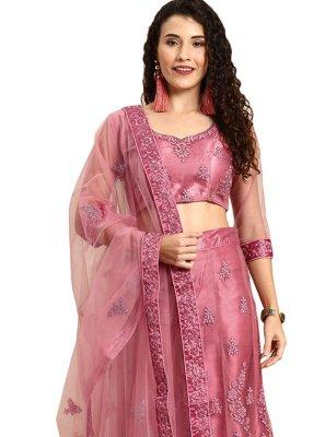 Pink Satin Resham Lehenga Choli