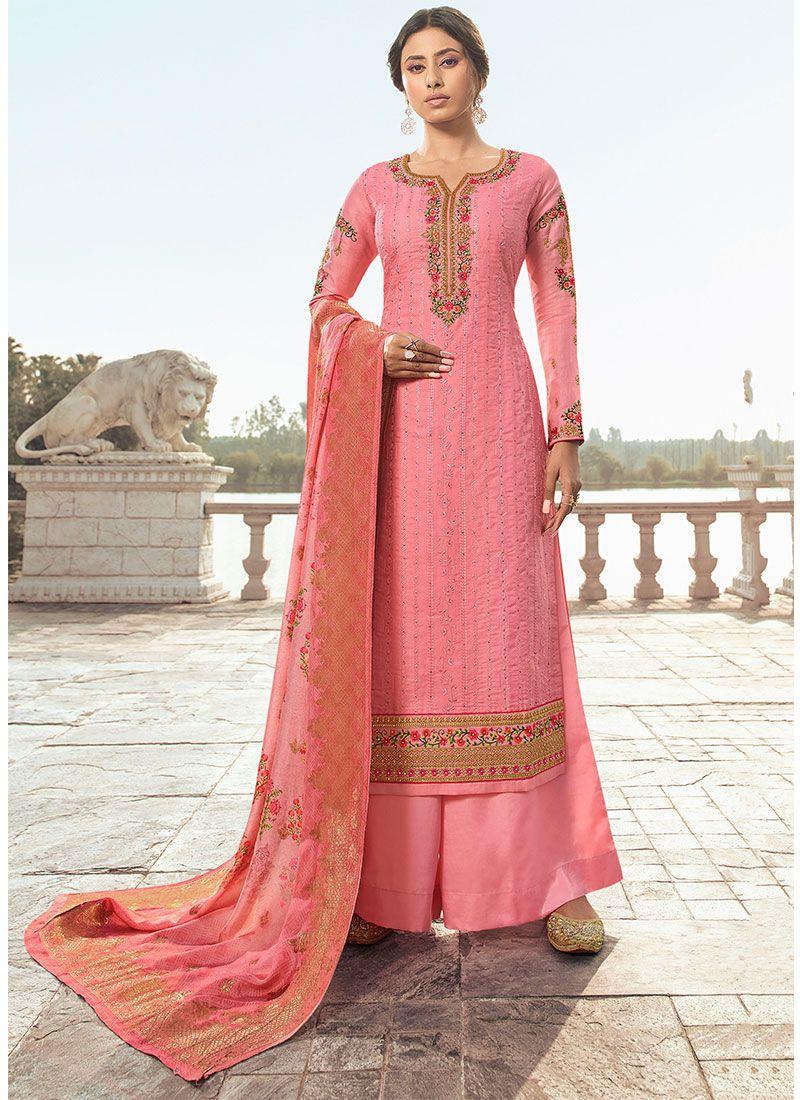 Pink Satin Silk Festival Salwar Kameez