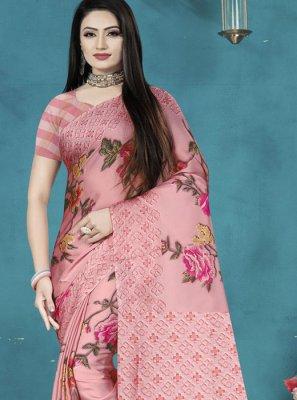 Pink Satin Silk Sangeet Printed Saree